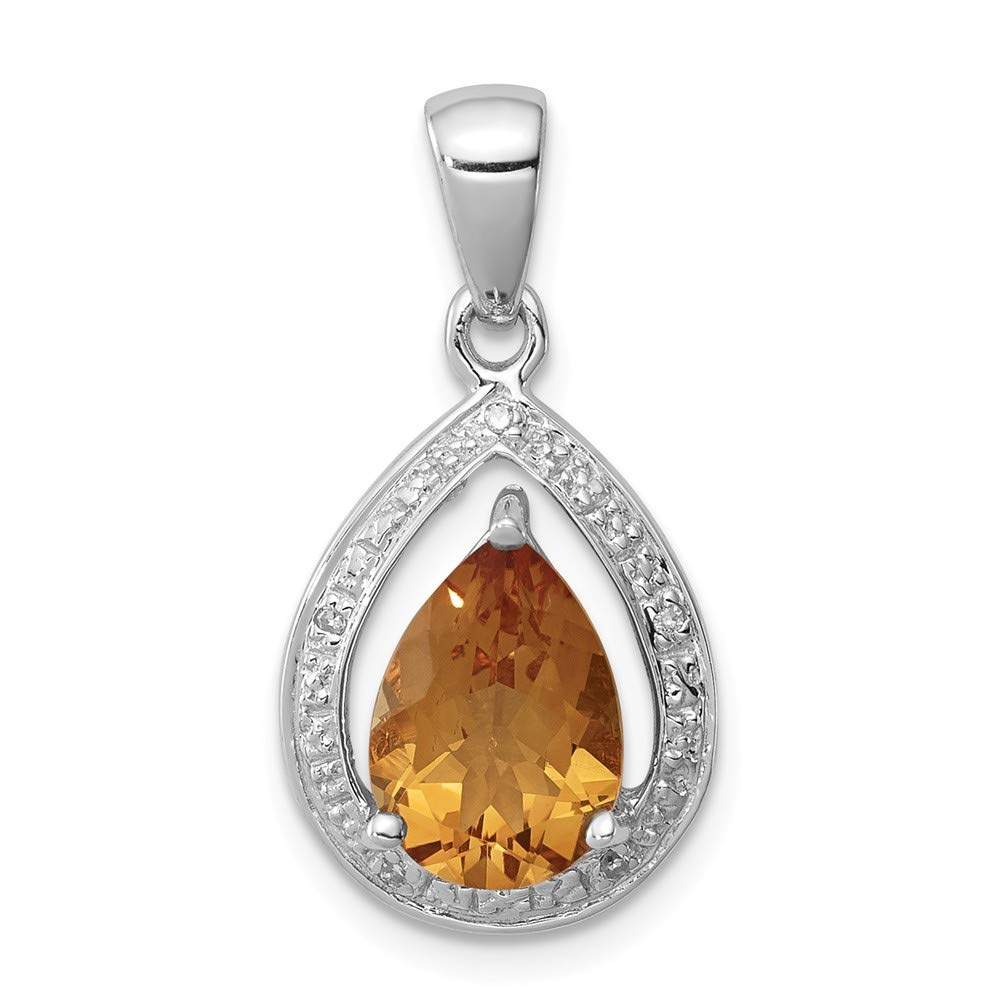 Rhodium Citrine and Diamond Pendant Mia Diamonds 925 Sterling Silver Solid 0.02cttw 25mm x 12mm