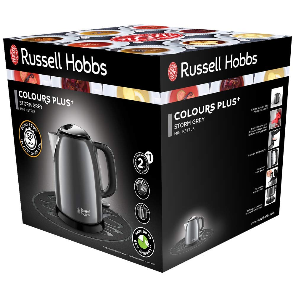 Gris Oscuro Nuevo Russell Hobbs ColoursPlus 24993-70 Hervidor de agua el/éctrico peque/ño 2400 W acero inoxidable 1 litro