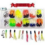110pcs/set Soft Fishing Skirt Lures Set Jig Head Hooks Set Mixed Color Long Tail Smell Worms Bait Artificial Jigging Lure Lead Head Hook Set