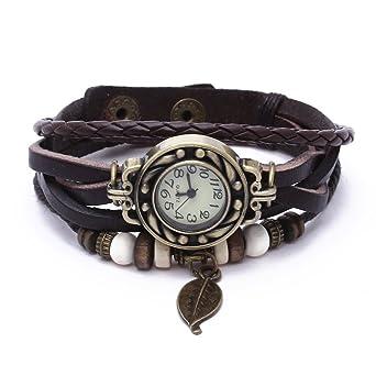 Lederarmband damen mit anhänger  Vintage Kaffee Wickelarmband Damen Armbanduhr Lederarmband Bronze ...