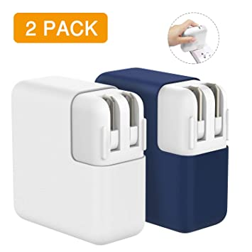 MoKo Funda Protetora para MacBook Power Adaptador, [2 PZS] 45W MagSafe 2 Cargador de Silicona Case para MacBook Air 13-Inch(A1466/A1369) & MacBook Air ...