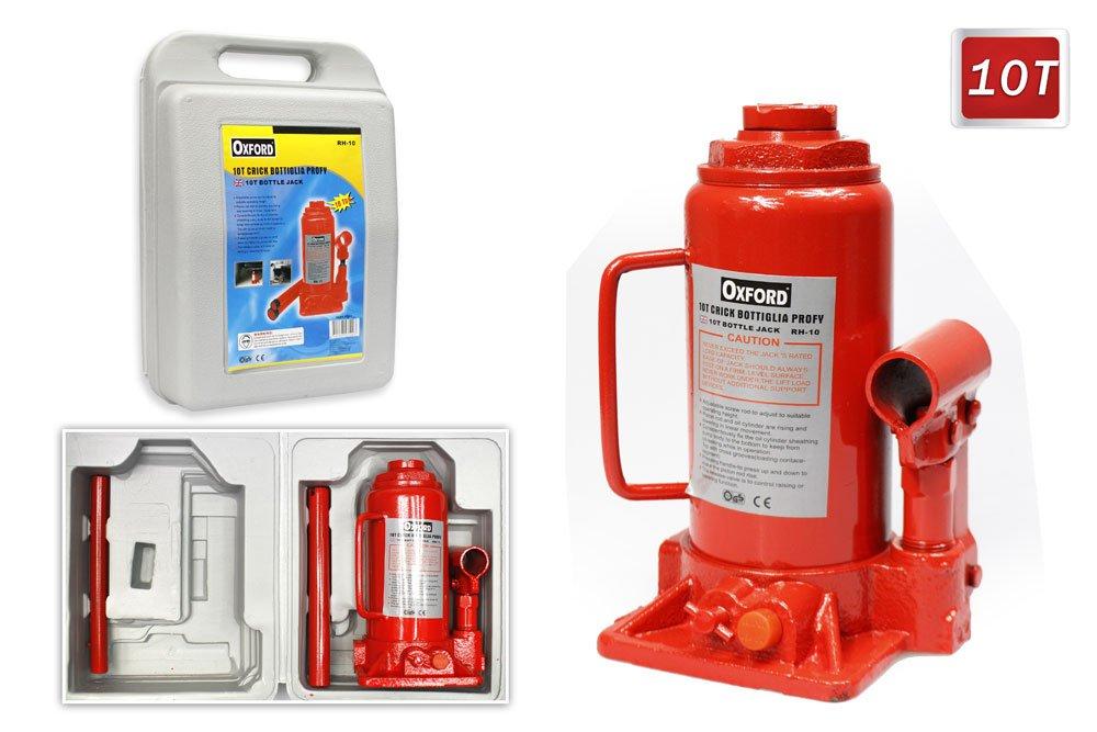 Vetrineinrete® Cric idraulico a bottiglia con portata di 10 tonnellate sollevatore per auto in valigia P5
