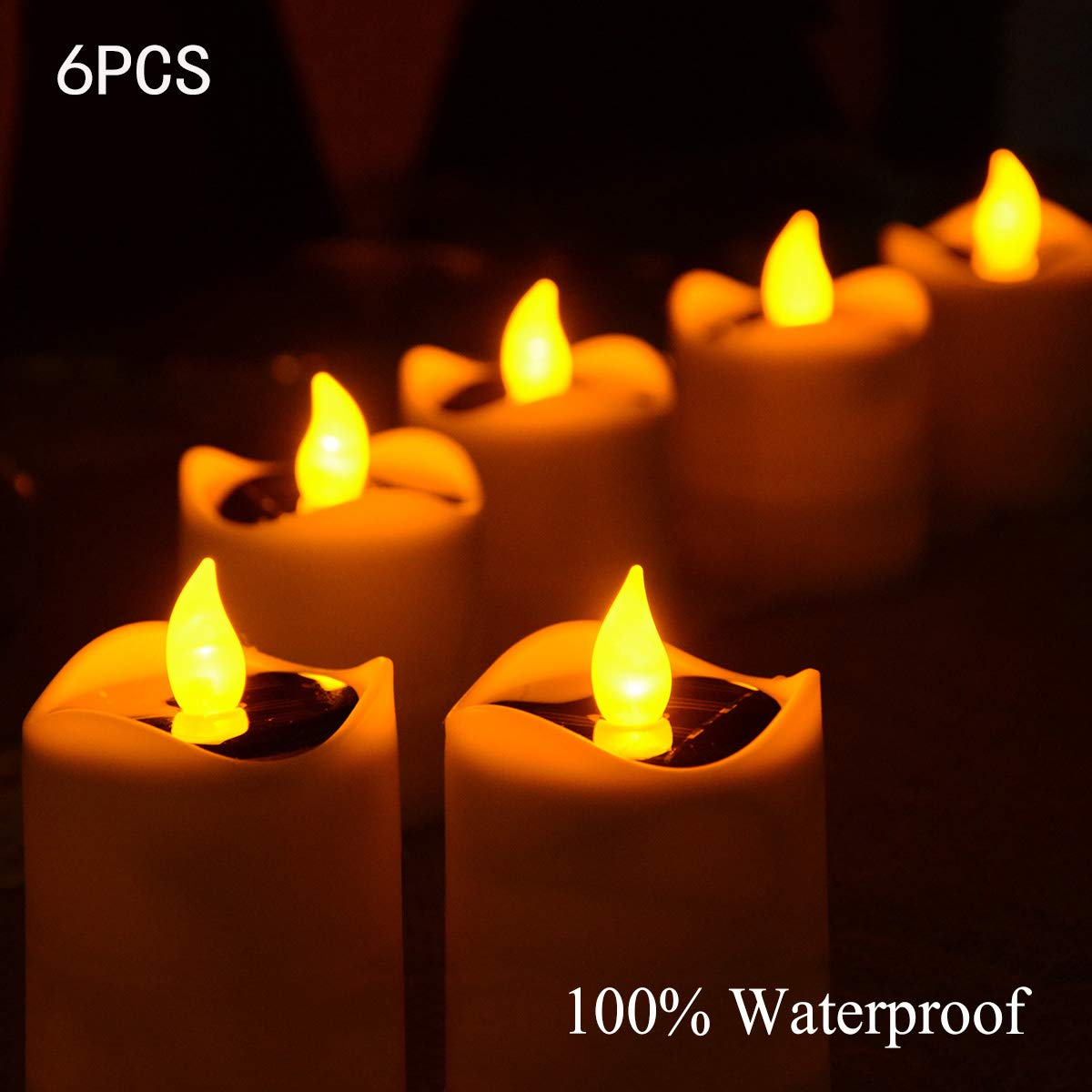 Abkshine 6 Pack Solar Flameless Candles, Waterproof Solar Rechargeable LED Tealights, Solar Powered Flickering Table Lamp for Home Decor, Wedding, Birthday, Party Decor(Amber Yellow)