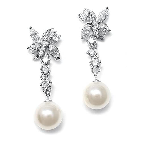 Mariell Luxurious Pearl and Cubic Zirconia Bridal Earrings – Glamorous Wedding Special Occasion Dangles