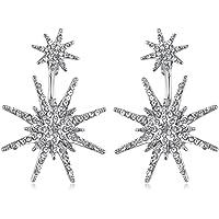 MengPa Star Stud Statement Dangling Earrings for Women Unique Fashion Wedding Ear Jacket Jewelry