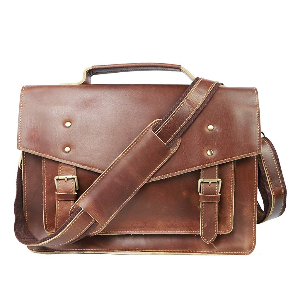 HTDZDX 15'' inch Laptop Messenger Bag,Vintage Leather Business Briefcase,4 Colors to Choose from (Color : Brown)
