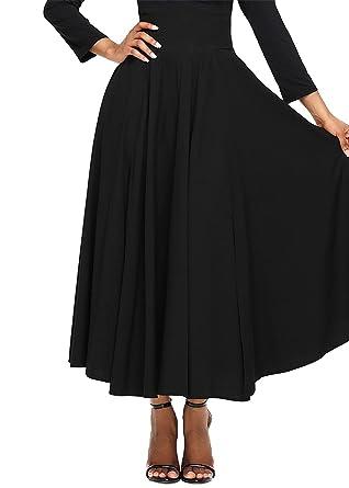 512d4185d Dora Bridal Women High Waist Casual Skirt A-Line Pleated Maxi Trendy Skirts  With Pocket