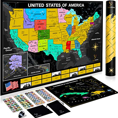 Pure Leissure Scratch Off Map of The United States - USA National Parks, 96 Unique Landmarks & Adventure Stickers to Track Travels, Deluxe Gift for US Travelers, Bonus Scratch Caribbean Map & eBook