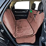 "Dog Car Seat Cover with Deluxe Removable Velvet Seat Pad for Cars, Trucks, SUVs, Pet Car Seat Cover 100% Waterproof &Non-slip Backing &Hammock Convertible, 56""Wx62""L, Free Lint Roller Included-Brown For Sale"