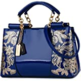 Nevenka Luxury Evening Bag Embroidered Handbag Patent Leather Tote Bag Top Handle Shoulder Bags for Women