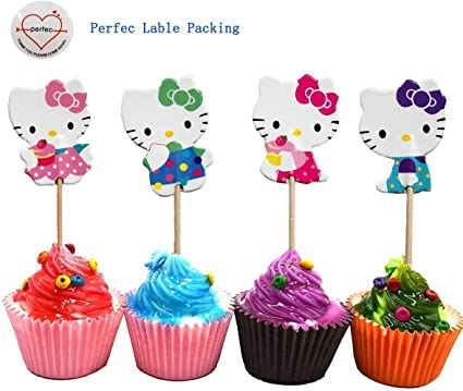 Hello Kitty Cupcake Toppers Hello Kitty Birthday Party Supplies SET OF 24
