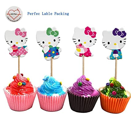Amazon Com Hello Kitty Cupcake Toppers Party Pack For 24 Cupcakes