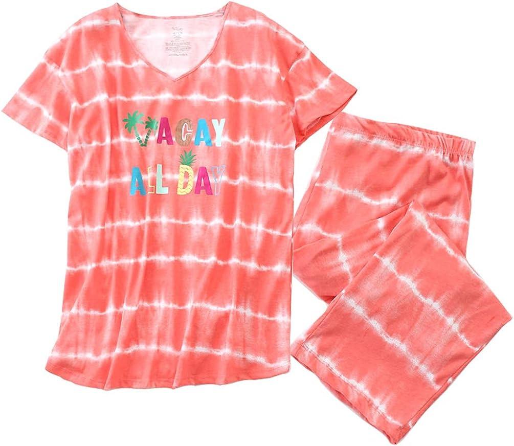 Nights Women/'s Pajamas Set Nightwear Sleeping Wear Shirt and Capri Pants