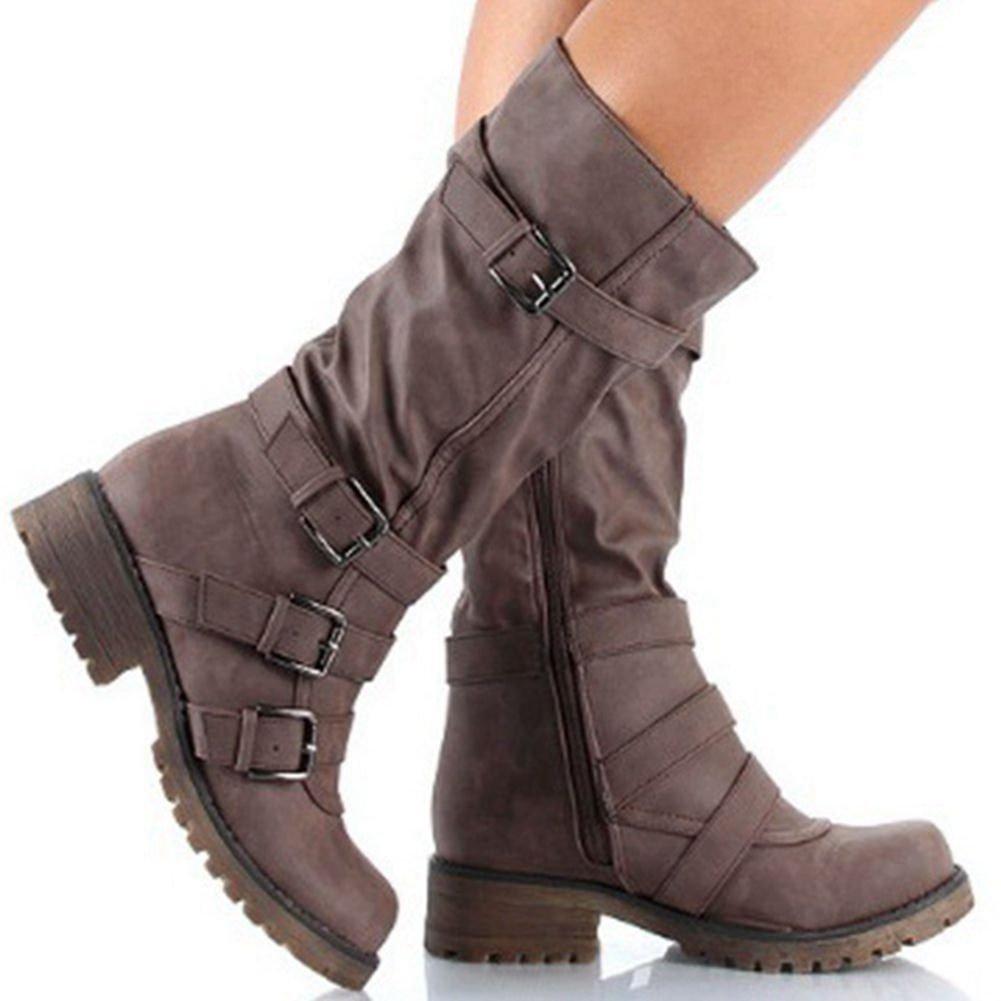 DecoStain Women's Belt Buckle Low-Heel Comfortable Zipper Black Boots Grey Boots Brown Boots