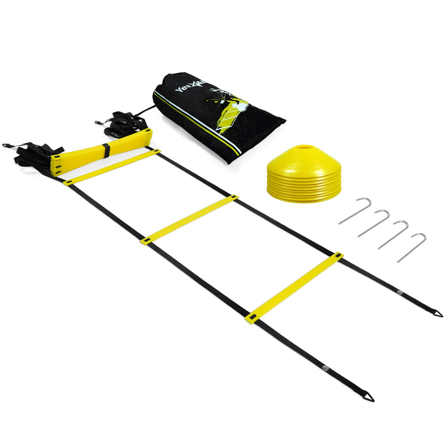 Yes4All Speed Agility Ladder with Carry Bag - Multi Choice: 8, 12, 20 Rung (Yellow 12 Rung + 12 Cones + Steel Stakes) by Yes4All