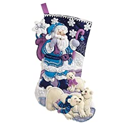 Bucilla Felt Applique Christmas Stocking Kit: Arctic santa