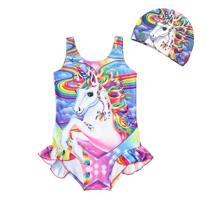 004392edc8fd1 Amazon.com: YIJODM Girls Bathing Suits Unicorn Swimsuits One Piece Swimwear  Toddler: Clothing