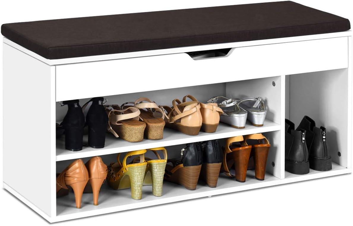 schwarz freistehendes Lagerregal Eckregal f/ür zu Hause COSTWAY Schuhregal aus Holz Schuh-Organizer vertikal 8-stufiger Schuhst/änder