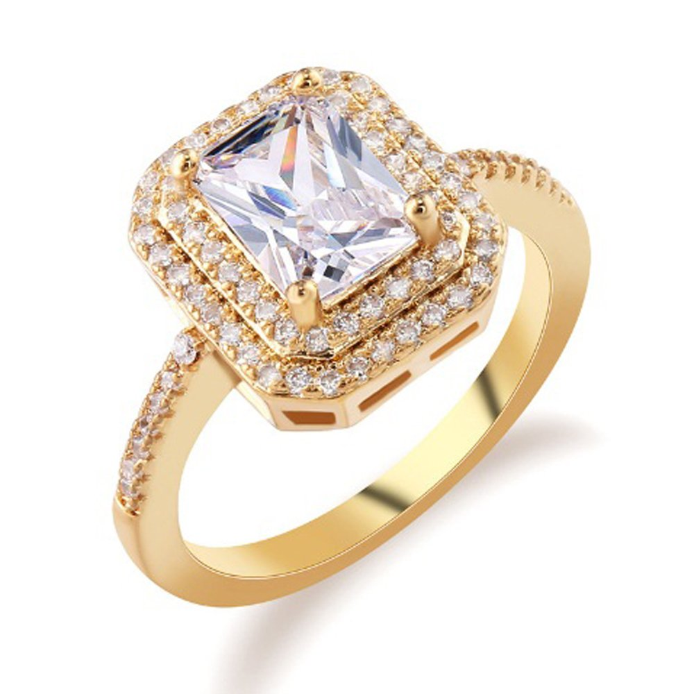 F/&T JEWEL Gold Plated Ring For Women Double Halo Princess Cut White Jewelry Wedding Rings T/&T