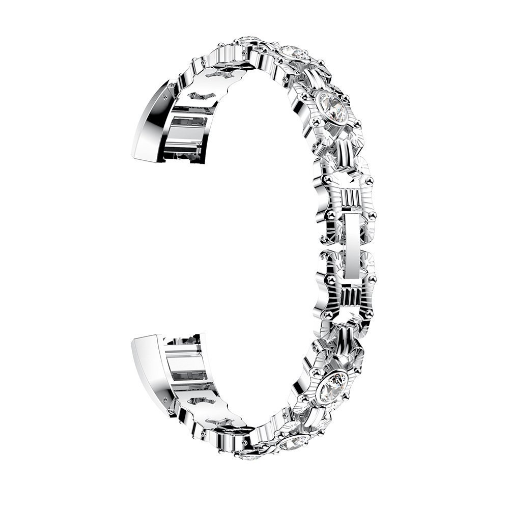For Fitbit Alta Bands,Stainless Metal Bands with Diamond Jewelry Adjustable Strap Bracelet with Rhinestone for Fitbit Alta/Alta HR (Silver)