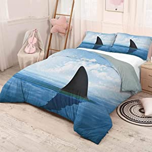 HELLOLEON (Queen) Shark Extra Large Quilt Cover Shark Fish Fin Over The Sea Surface Danger Caution Themed Picture Can be Used as a Quilt Cover-Lightweight Grey Violet and Pale Blue