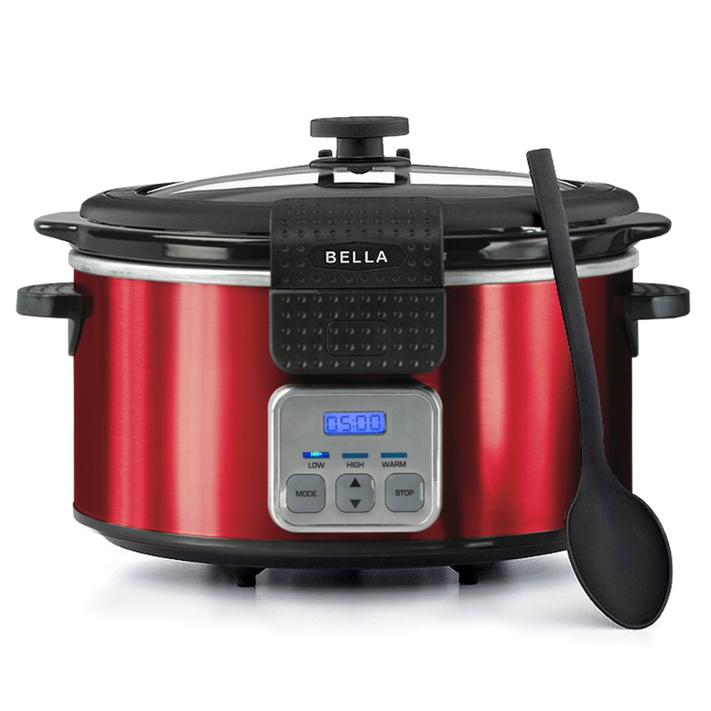 BELLA 14025 Programmable Slow Cooker with Locking Lid, 6-Quart, Red