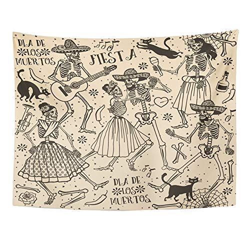 Emvency Tapestry Wall Hanging Black Halloween Skeletons Dia De Los Muertos The Dance Red Day Dead Cat 60