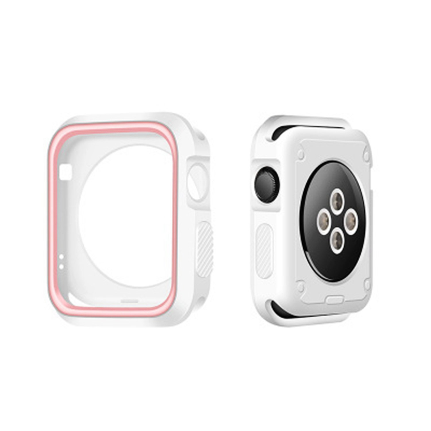 Morenitor for Apple Watch Case, 38mm Double Color Soft Silicone TPU Bumper Plating Protective Cover Case for Apple Watch iWatch Series 2 3 (White and Pink - 38 mm)