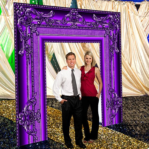 9 ft. 4 in. Purple Masquerade Mardi Gras Baroque Frame Arch Standup Photo Booth Prop Background Backdrop Party Decoration Decor Scene Setter Cardboard Cutout ()
