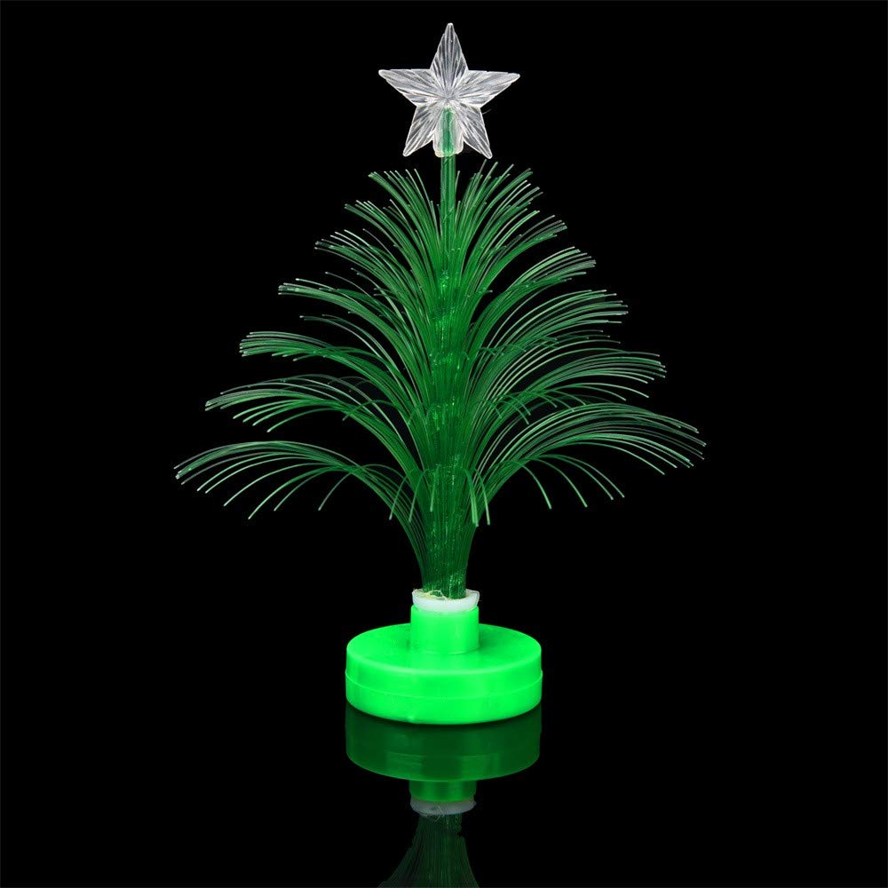 Hot Tuscom Mini Christmas Xmas Tree LED Color Changing, Slow Flash Colorful Lights,12.6X 8.7cm for Home Table Party Decor,Kids Gift (4 Colors) (Green)
