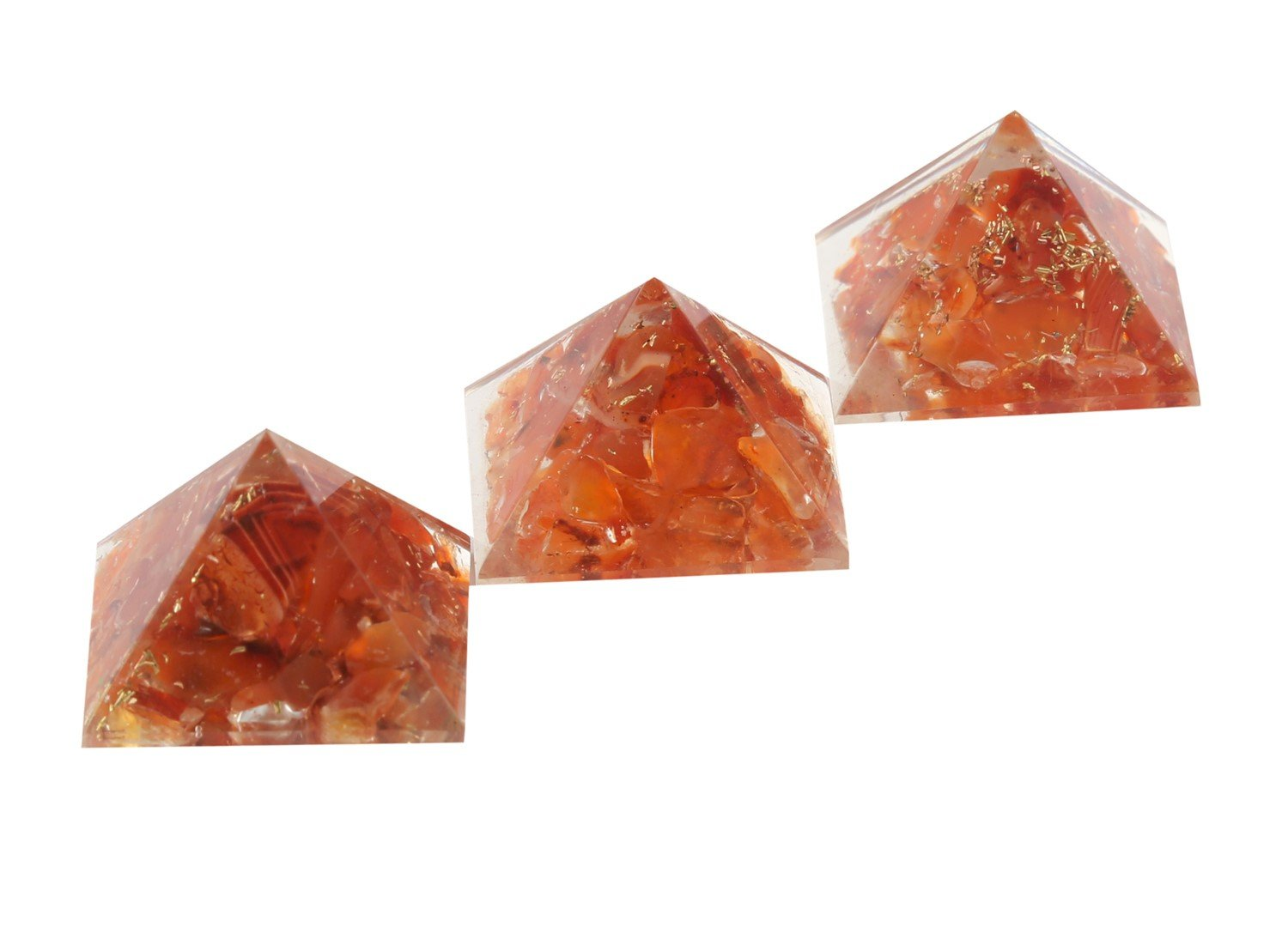 Aatm Reiki Energized chakra healing Carnelian Orgone Pyramid (1inch) With Clear Crystal Gemstone/ EMF Protection Meditation Yoga Energy Generator (Set of 3) Aatm Collection GAPC-275