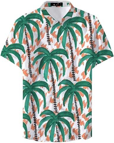 Camisa Informal de Verano con Estampado de Palmeras de Color ...