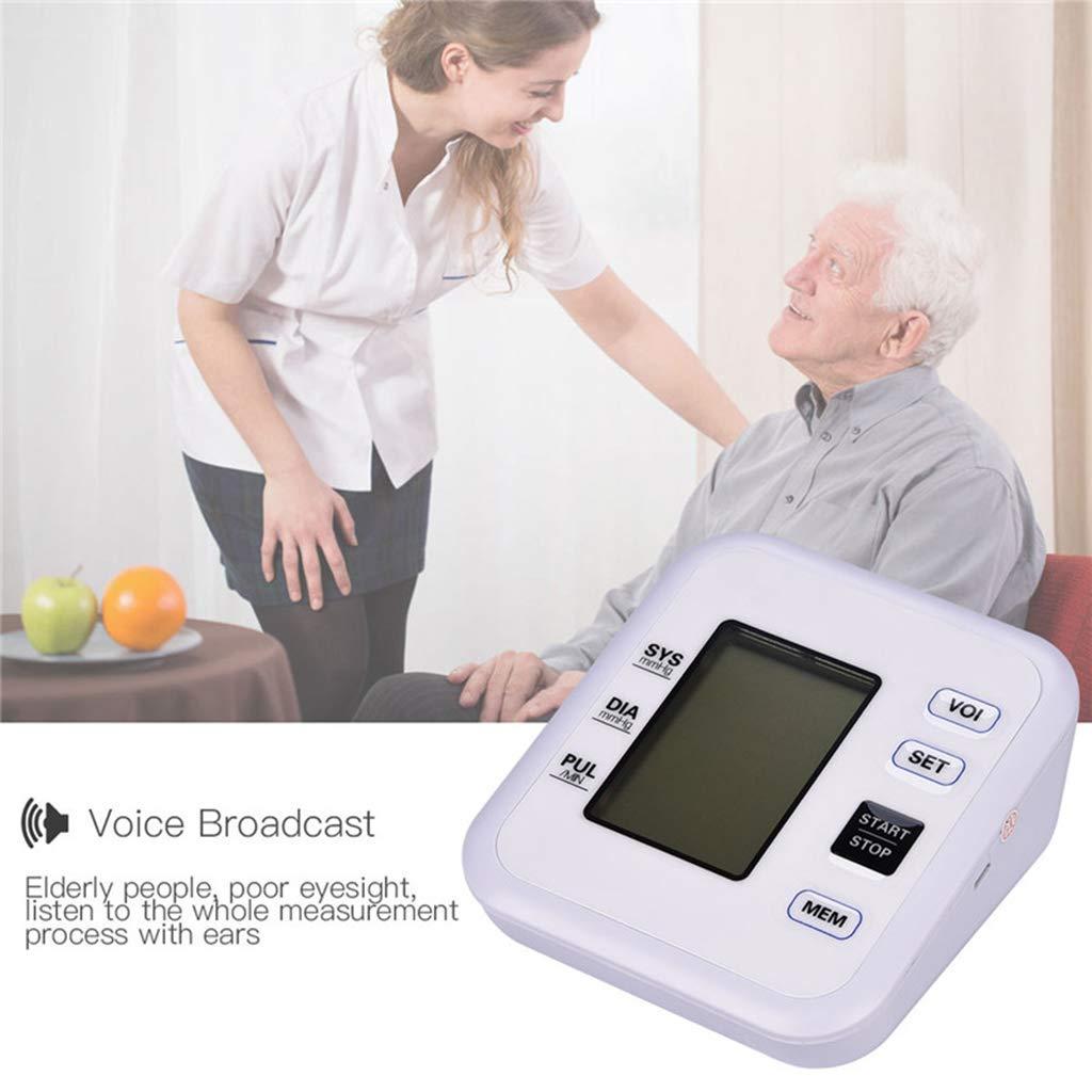 Full Autom/ático Inteligente LCD Digital Heartbeat Measuring Monitor electr/ónico Inteligente de presi/ón Arterial Brazo Superior Medidor de presi/ón Arterial Sphygmomanometer Autom/ático Puls/ómetro