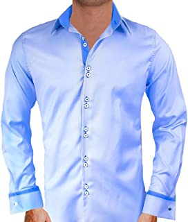 product image for Light Blue with Dark Blue French Cuff Designer Dress Shirts - Made in USA