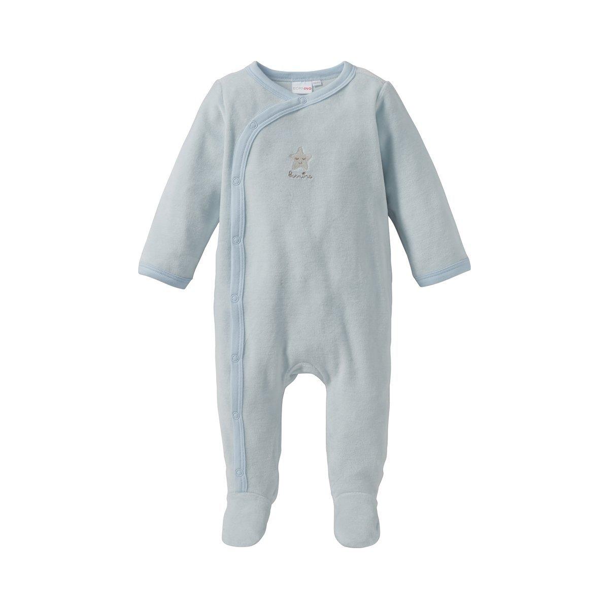 seitliche Druckknopfleiste von Hals bis Fu/ß Baby-Overall in Nicki-Qualit/ät f/ür entspannten Schlaf Bornino Basics Nicki-Schlafoverall Stern