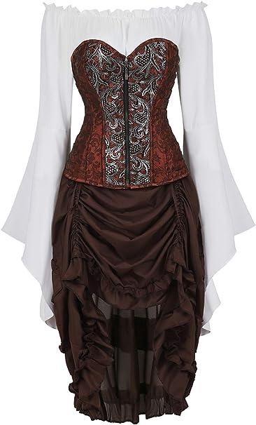 Rosfajiama Disfraces Medievales Mujer Falda Corset Sexy Steampunk ...