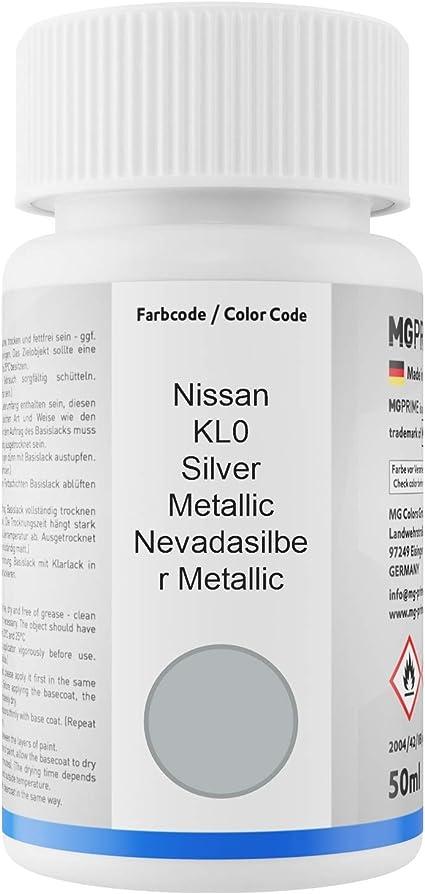 Mg Prime Autolack Lackstift Set Für Nissan Kl0 Silver Metallic Nevadasilber Metallic Basislack Klarlack Je 50ml Auto