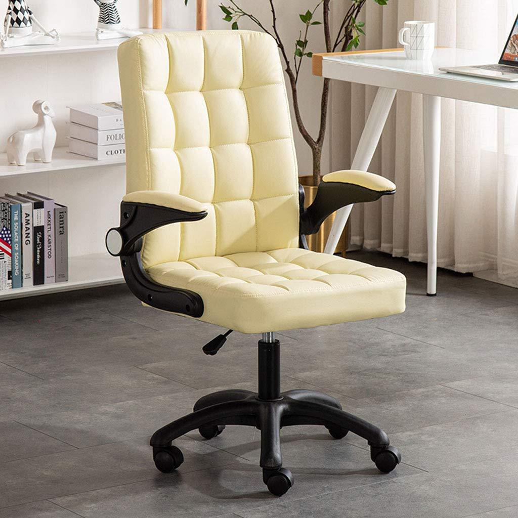 Hem kontor ryggstöd stol justera rullstol dator stol uppgift stol med läderemulsion och svamp 360 ° rotation nylon kastruller snygga sovrumsmöbler, brun Krämig vit
