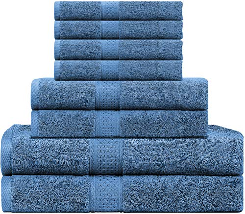 LiveComfort 8 Piece Towel Set for Bathroom - 2 Bath Towels, 2 Hand Towels and 4 Washcloths, 100% Cotton Super Soft and Absorbent, Machine Washable, Blue Towel