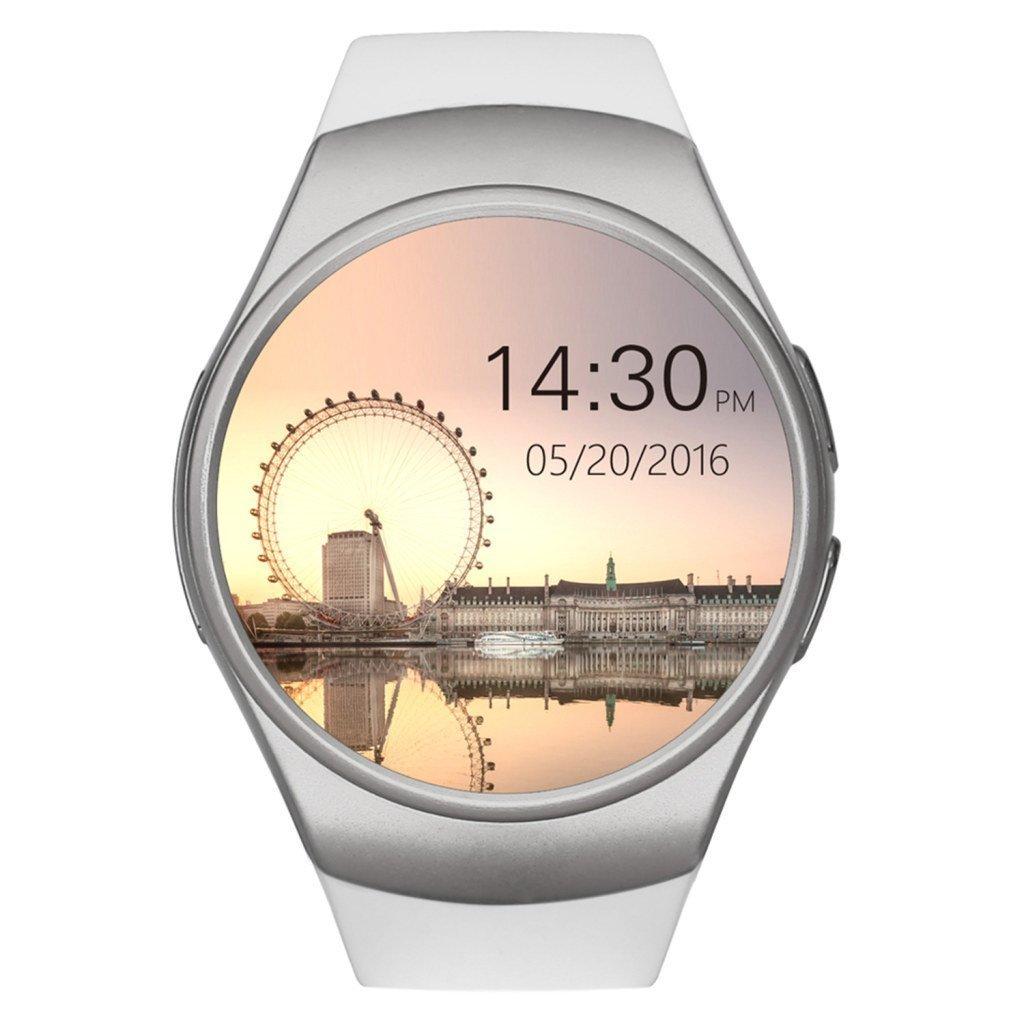 Amazon.com: JDAs Store KW18 Smart Watch Gift 16g TF Card Android/IOS Digital-watch Bluetooth Reloj Inteligente SIM Round Heart Rate Monitor Watch (White): ...