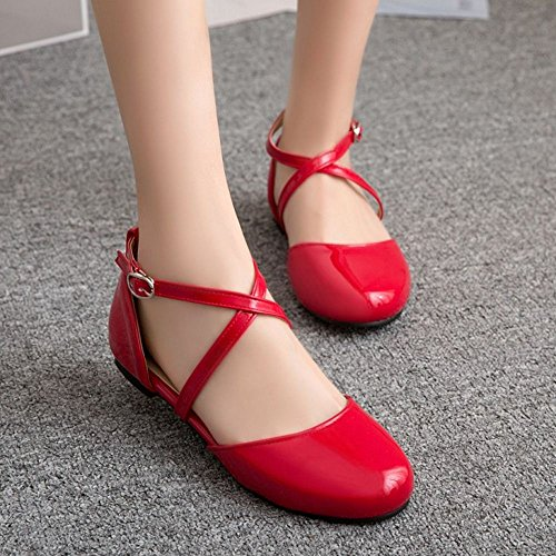 Flat Women Sweet Red Shoes 3 Zanpa EBqwCz7dq