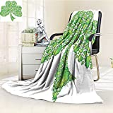 Digital Printing Blanket Irish Shamrock Figure Made with Small Crs Holy Summer Quilt Comforter