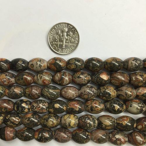 Jasper Leopard Skin Gemstone (Oval Barrel 8x10mm Gemstone Beads, 15.5 Inch Jewelry Making Beads (Leopard Skin Jasper))