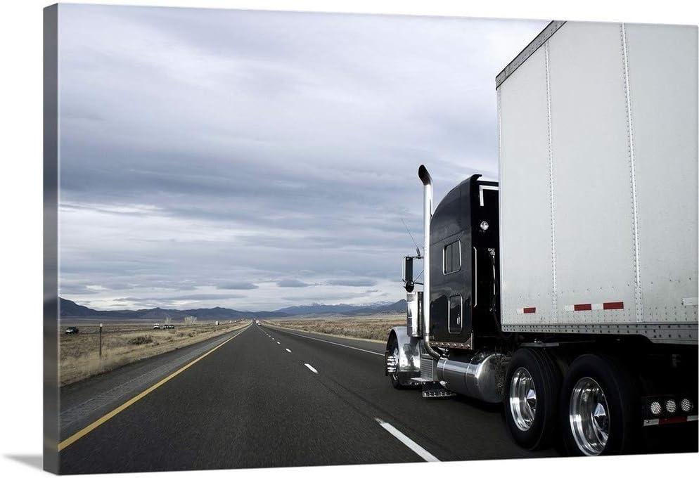 """Semi Truck on an Empty Road Canvas Wall Art Print, 36""""x24""""x1.25"""""""