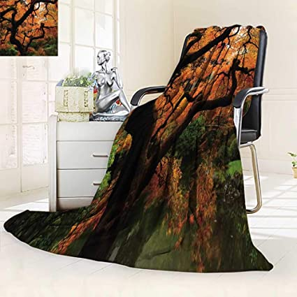 Luxury Double-sides Reversible printed blanket And Ground Japanese Vivid  Japanese Maple Trees Deep Darkin 1942383ad