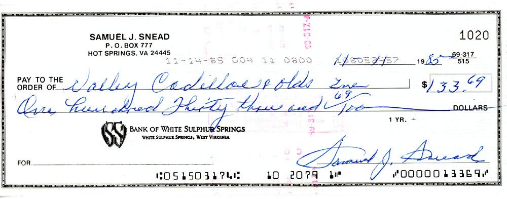Sam Snead Signed Auto 3x8.5 Check #1020 Certified Authentic