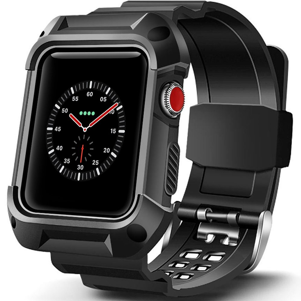 BEAUBOMB Apple Watch Band 42mm Men, iWatch 3 Case Black Bands Series 3/2/1 Sport Protective Cases Shockproof Strap Protector Rubber Cover Banda Armor XL Rugged Silicone Bumper Para Men Women