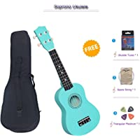 Soprano Ukulele Beginner Pack, 21 Inch Basswood kids Ukuleles Starter Kit with Gig Bag Digital Tuner Spare Strings and Picks