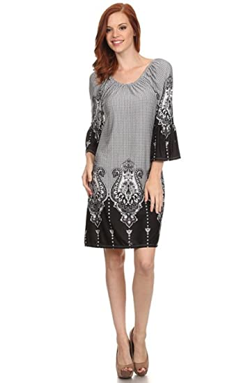 d0f9376eded9e 2LUV Women's Bell-Sleeve Mix Print Shift Dress Black White S (D982) at  Amazon Women's Clothing store:
