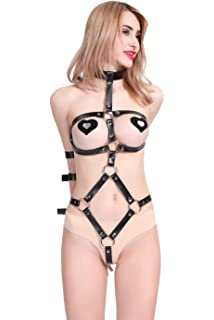 4f9fc000287 JASNO Women Faux Leather Lingerie Anti-Back Hand Bandage Underwear Catsuit  Strip Bodysuit Black Open Chest And Crotch…